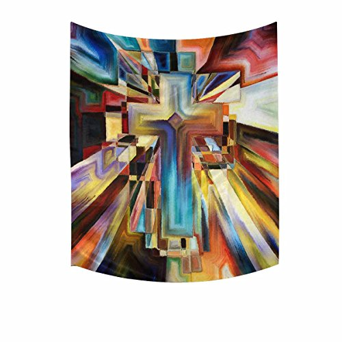 (InterestPrint Abstract Angles of The Cross Series in Tie Dye Pattern Tapestries Home Decor, Cotton Linen Tapestry Wall Hanging Decorative Tapestry, 51W X 60L Inch)