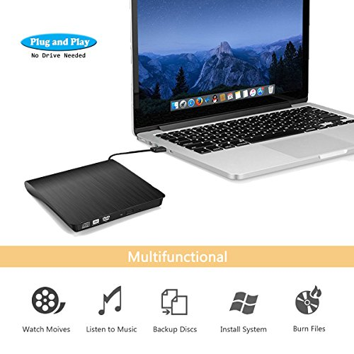 External CD Drive, Devancy Ultra-Slim USB 3.0 External DVD Drive, CD/DVD-RW Drive, DVD/CD Rom Rewriter Burner Writer, High Speed Data Transfer for Laptop Desktops Win 7, 8, 10, Mac OS and Linux OS by Devancy (Image #1)