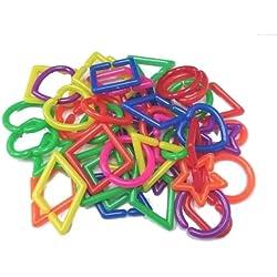 Power of Dream Big Mixed Shape C Chain Links Plastic Neon Toy DIY 50 Pcs Y06