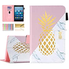 Dteck Fire HD 8 Case (8th Generation 2018 /7th Generation 2017 /6th Generation 2016), Folio Leather Protector Wallet Stand Cute Slim Cover with Auto Sleep Wake/Stylus Pen (Marble Gold Pineapple)