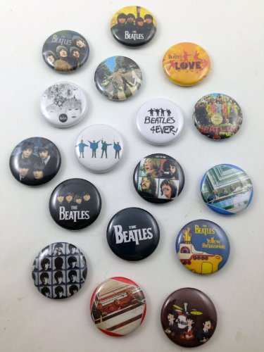 Set of 17 BRAND NEW Beatles One Inch Buttons / Pins (Beatle Pins)