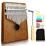 Kalimba, Helesin 17 key Thumb Piano Solid Finger Piano with Locking system, Instruction and Tune Hammer Marímbula Mbira Wood Natural Keyboard Marimba (Mahogany)