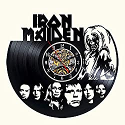 Iron Maiden Vinyl Wall Clock 12 in Black Decor Modern Decorative Vinyl Record Wall Clock Unique Gift to Your Friends and Family for Any Occasion