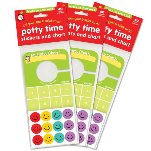(Potty Training Stickers and Reward Chart, Value 3 Pack! Hooks on Door knob, Eye Level for Kids!)