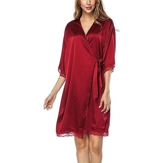 Ropa de dormir para pijamas para mujeres Para mujer Kimono Batas Satén Color puro Corto Sedoso Bata de dormir Pijama camisón con cuello en V oblicuo Ropa de ...