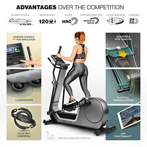 Sportstech-LCX800-luxury-crosstrainer-with-noble-Android-multifunction-console-24kg-flywheel-mass-Smartphone-App-Bluetooth-pulse-belt-compatible-12-training-programs-HRC-tablet-holder