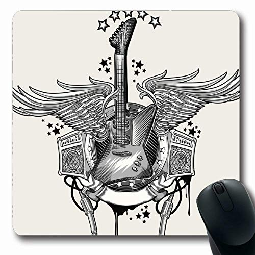 Ahawoso Mousepads for Computers Ornate Gray Retro Guitar Emblem Rock Funky Star Imagery Revival Music Roll Design Interconnect Oblong Shape 7.9 x 9.5 Inches Non-Slip Oblong Gaming Mouse Pad