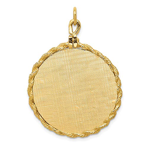 14k Yellow Gold Patterned .013 Gauge Engravable Disc Rope Pendant Charm Necklace Back Round Framed Fine Jewelry Gifts For Women For Her