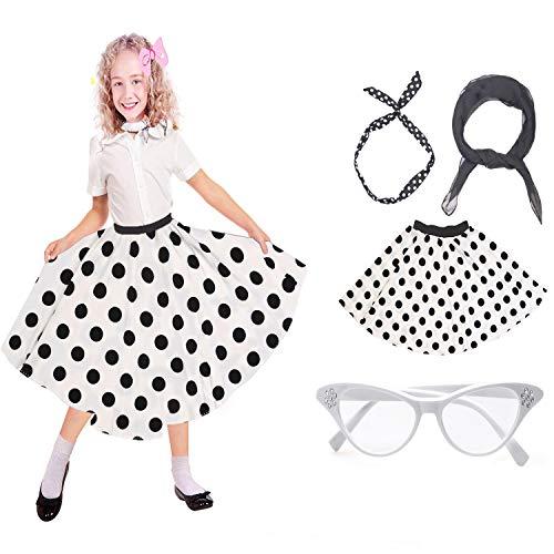 Beelittle 50's Costume Accessories Set Girl Vintage Polka Dot Skirt Scarf Headband Cat Eye Glasses 50s Kid Costume (A-White)