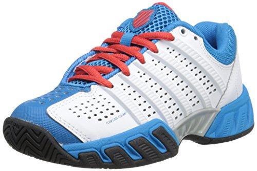 k-SWISS Bigshot Light 2.5 Tennis Shoe (Little Kid/Big Kid), White/Methyl Blue/Fierier, 6 M US Big Kid