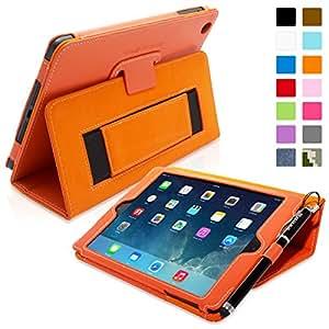 iPad Mini & Mini 2 Case, Snugg™ - Smart Cover with Flip Stand & Lifetime Guarantee (Orange Leather) for Apple iPad Mini & Mini 2 with Retina