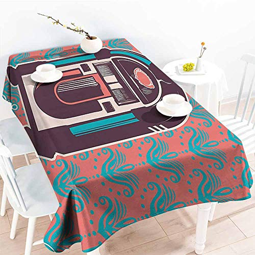 Homrkey Elegance Engineered Tablecloth Jukebox Floral Paisley Inspired Backdrop with Music Box Retro Party Print Turquoise Coral Dried Rose Excellent Durability W54 ()