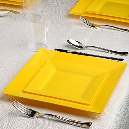 Kaya Collection - Square Buttercup Yellow Disposable Plastic Dinnerware Party Package - 20 Person Package - Includes Dinner Plates, Salad/Dessert Plates, Silver Cutlery and (Yellow Dinnerware Collection)