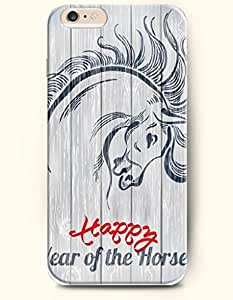 iPhone 6 Plus Case 5.5 Inches Happy Year of the Horse - Hard Back Plastic Case OOFIT Authentic