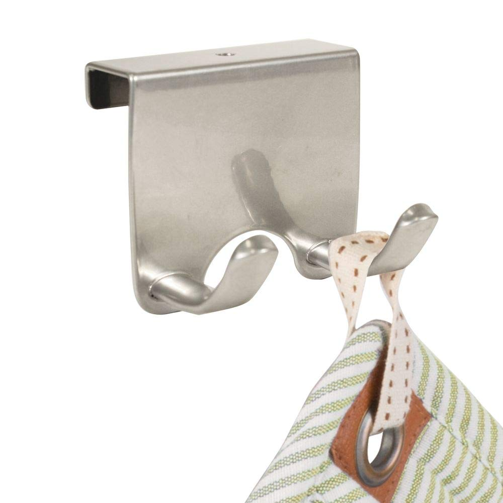 Silver mDesign Over-the-Cabinet Kitchen Storage Hooks for Dish Towels or Pot Holders Pack of 2