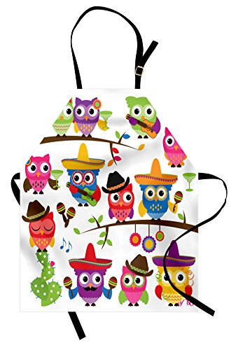 Lunarable Owls Apron, Group of Cowboy Cowgirl Owls with Hats Guitars Cactus Cinco de Mayo Themed Art, Unisex Kitchen Bib Apron with Adjustable Neck for Cooking Baking Gardening, Orange Red]()