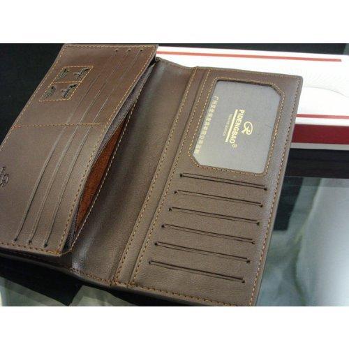 Men Bifold Leather Long Design Billfold Check Card Wallet Purse