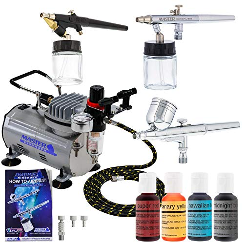 Master Airbrush Premium 3 Airbrush Cake Decorating Kit with G22, S68, E91 Master Airbrushes and TC-20 Air Compressor, 4 Chefmaster Airbrush Food Colors.7 fl oz Bottles ()