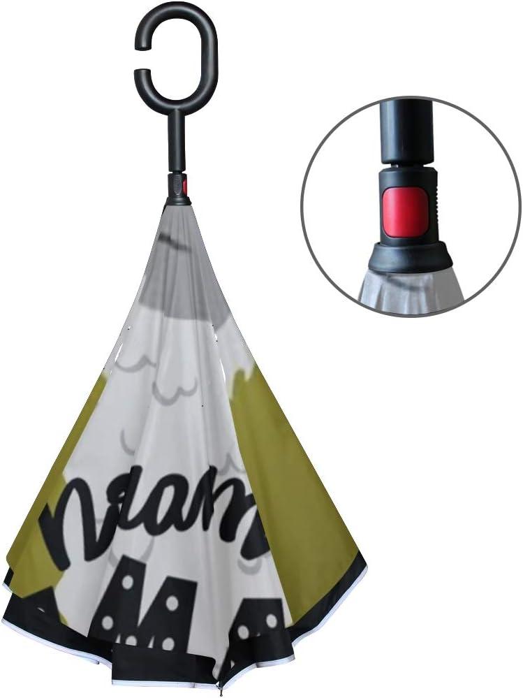 Double Layer Inverted Inverted Umbrella Is Light And Sturdy Cute Cartoon Lama Alpaca Withunique Hand Reverse Umbrella And Windproof Umbrella Edge Nig