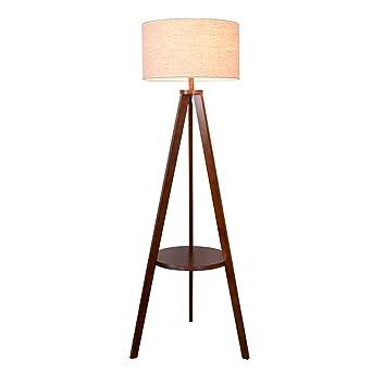 AJZXHE Lámpara de pie, mesa trípode vertical de madera ...