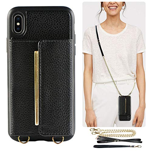 ZVEdeng iPhone Xs MAX Wallet Case, iPhone Xs MAX Crossbody Case, iPhone Xs MAX Card Holder Case, iPhone Xs MAX Case with Wrist Crossbody Strap and Kickstand, Mini Handbag Purse Protective Cover-Black