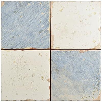 "SomerTile FPEARTDA Artisa Ceramic Floor and Wall Tile, 13"" x 13"", White/Blue/Cream/Brown"