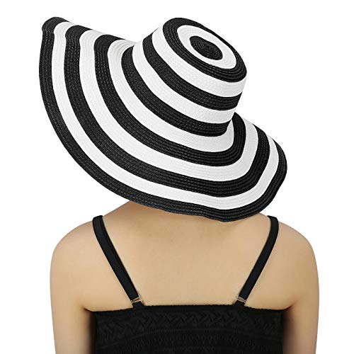 Striped Hat Floppy - HDE Womens Striped Beach Sun Hats Floppy Wide Brim Straw Hat Cap for Festivals