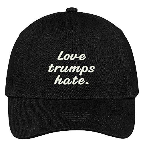 Trendy Apparel Shop Love Trumps Hate Embroidered Soft Low Profile Adjustable Cotton Cap - Black by Trendy Apparel Shop (Image #2)