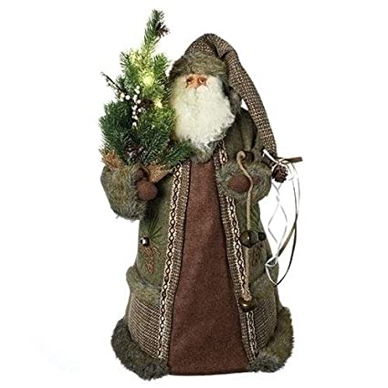 Amazon Com 22 Battery Operated Led Rustic Santa Claus Pre Lit