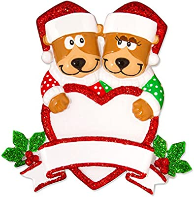 738ea1392b92 Amazon.com  Personalized Brown Bear Family of 2 Christmas Ornament ...