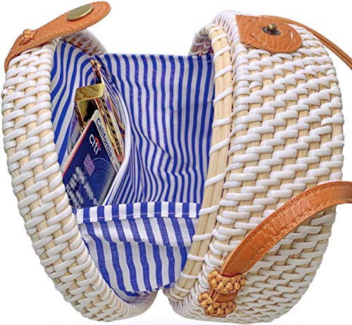 Family Tradition Gift Basket - Handmade Straw White Round Rattan Bag Zipper Pouch Adjustable Strap Wicker Purse