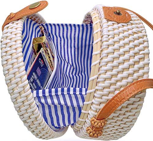 - Handmade Straw White Round Rattan Bag Zipper Pouch Adjustable Strap Wicker Purse
