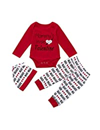 Sumen Newborn Baby Boy Letter Romper +Pants+Hat Valentine's Day Outfits 3PCS
