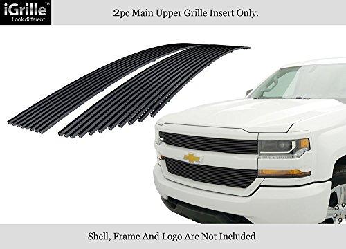 (APS Fits 2016-2018 Chevy Silverado 1500 Reg Model Stainless Black Billet Grille)