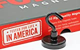 FORCE MAGNET Sturdy Magnetic Hooks - 10 Magnetic Hooks, Heavy Duty Steep, Comes with BONUS No-Scratch Pads to Protect Your Surfaces. Ideal for Home, Kitchen, Workplace,Office, Garage (BLACK)