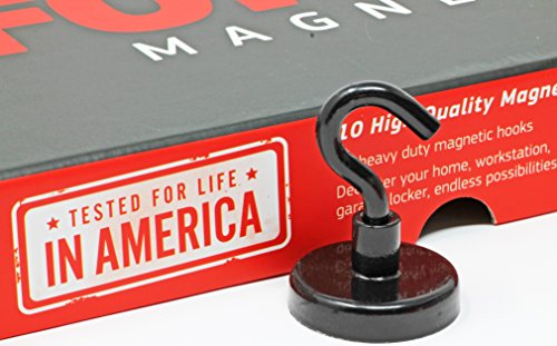 FORCE MAGNET - Sturdy Magnetic Hooks - 10 Magnetic Hooks, Heavy Duty Steep , Comes with BONUS No-Scratch Pads to Protect Your Surfaces. Ideal for Home, Kitchen, Workplace,Office, Garage (BLACK) (Hooks Sturdy)
