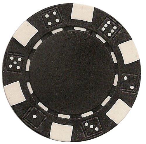 DA VINCI 50 Clay Composite Dice Striped 11.5-Gram Poker Chips - Poker Black Clay
