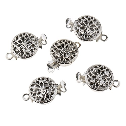 Baoblaze 5 Sets Silver Tone Beautiful Classic Flower Filigree Round Push in Box Clasps Connector Switch Beads for Making Jewelry fit Bracelet Necklace Earring Anklets Pendant Charms