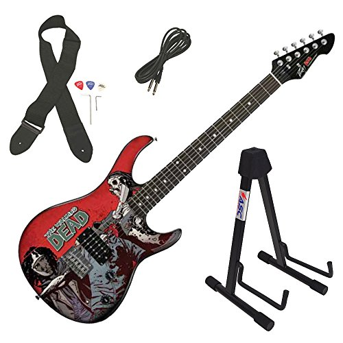 e Walking Dead Michonne Slash Electric Guitar & Stand New ()