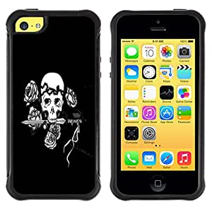 Jordan Colourful Shop@ Black & White Floral Rose Skull Rugged hybrid Protection Impact Case Cover For iphone 5C CASE Cover ,iphone 5C case,iphone5C cover ,Cases for iphone 5C