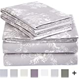Pinzon 170 Gram Flannel Sheet Set – Queen, Floral Grey