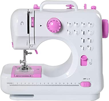 12 Built-in Stitches Mini Beginners Sew Machines with Expansion Table and 20 Threads for Adult Kids Girls Household Embroidery Tool with Foot Pedal Led Light Portable Electric Sewing Machine
