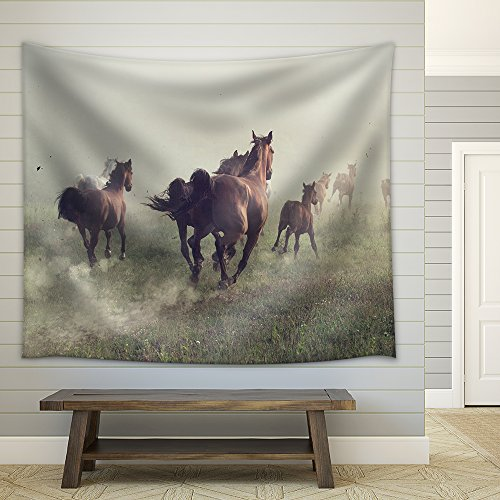 Group of Horses on The Meadow at The Morning Fabric Wall