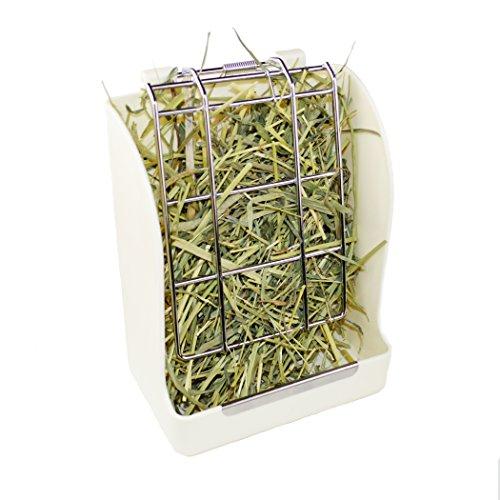 CalPalmy Rabbit/ChinChilla/Guinea Pig Hay Feeder - Keeps Grass Clean & Fresh/Non-Toxic, BPA Free Plastic/Minimizing Waste/Mess (Feeder Rabbit Plastic)