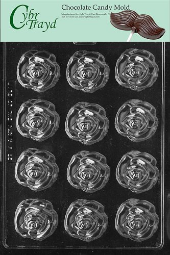 Cybrtrayd Life of the Party F086 Medium Open Rose Flower Chocolate Candy Mold in Sealed Protective Poly Bag Imprinted with Copyrighted Cybrtrayd Molding Instructions