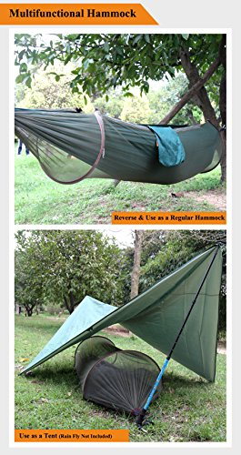 """Zoophyter """"BUG NET KING"""" Outdoor Hammock Tent with Mosquito Net, Unique Patented-Designed, Lightweight & Portable for Backpacking Camping Traveling & Hiking-Army Green"""