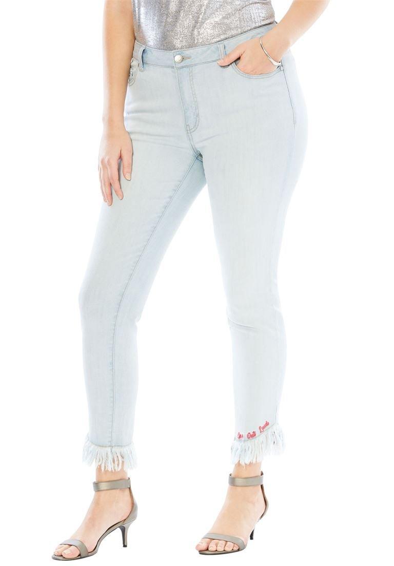 Roamans Women's Plus Size Monogram Skinny Fit Jean Bleach,32 W