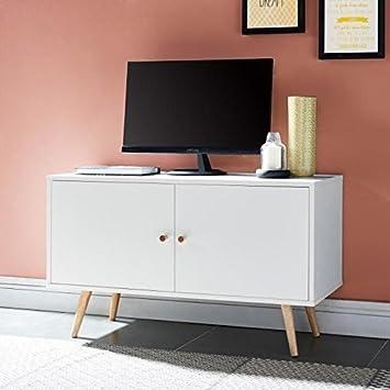 ANNETTE Meuble TV scandinave décor blanc + pieds en bois massif - L ...
