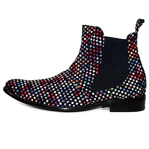 28c9335b7eb54e PeppeShoes Modello Discose - Handgemachtes Italienisch Leder Herren Bunt  Stiefeletten Chelsea Stiefel - Rindsleder Weiches Leder ...