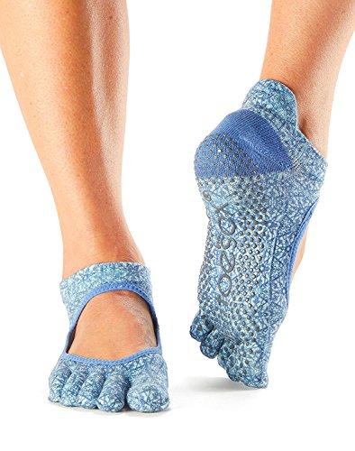 ToeSox Grip Medias tobilleras Bellarina, calcetines de baile y se puede utilizar para Barre, Yoga, Pilates, Fitness Slip Skid Socks - 1 PAR (Small, Peacock)